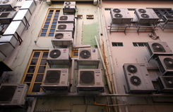 ASIA SINGAPORE CITY AIR CONDITIONERS. Aircondition on a building in the city of Singapore in Southeastasia Royalty Free Stock Photography