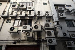 ASIA SINGAPORE CITY AIR CONDITIONERS. Aircondition on a building in the city of Singapore in Southeastasia Stock Photos