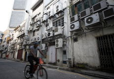 ASIA SINGAPORE CITY AIR CONDITIONERS. Aircondition on a building in the city of Singapore in Southeastasia Stock Photography