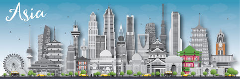 Asia skyline silhouette with different landmarks. Vector illustration. Business travel and tourism concept with place for text. Image for presentation, banner Royalty Free Stock Photography