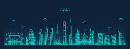 Asia skyline Trendy vector illustration line art Royalty Free Stock Image