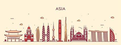 Asia skyline Trendy vector illustration line art Royalty Free Stock Image