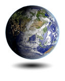 Asia from space. Earth lit by morning light facing Asia hovering above white surface. 3D illustration with very detailed planet surface. Elements of this image Stock Photo