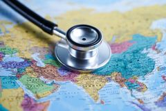 Asia : Stethoscope with world map. Asia : Stethoscope with world globe map stock image