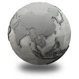 Asia sudoriental en la tierra metálica del planeta Foto de archivo