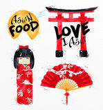 Asia symbols fortune cookies Royalty Free Stock Photos