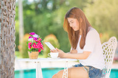Asia teenager Women  using her tablet. Royalty Free Stock Photography