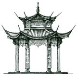 Asia. temple on a white background. Japan, China Royalty Free Stock Photos