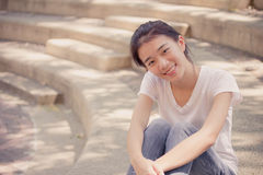 Asia thai china student university beautiful girl relax and smile Royalty Free Stock Photos