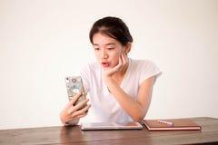 Asia thai china student university beautiful girl using her smart phone Selfie. Royalty Free Stock Photos