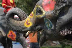 ASIA THAILAND AYUTTHAYA SONGKRAN FESTIVAL. The Thai New Year or Songkran Festival or Water festival in the city of Ayutthaya north of Bangkok in Thailand in Stock Images