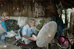 ASIA THAILAND CHIANG UMBRELLA. A Umbrella Factory near  the city of chiang mai in the north of Thailand in Southeastasia Royalty Free Stock Photos