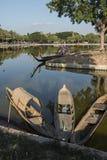 ASIA THAILAND SUKHOTHAI FISHINGBOAT. Fishingboat at the lake at the Historical Park in Sukhothai in the Provinz Sukhothai in Thailand.   Thailand, Sukhothai stock image
