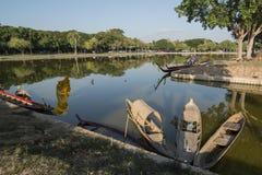 ASIA THAILAND SUKHOTHAI FISHINGBOAT. Fishingboat at the lake at the Historical Park in Sukhothai in the Provinz Sukhothai in Thailand.   Thailand, Sukhothai royalty free stock image