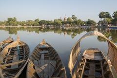 ASIA THAILAND SUKHOTHAI FISHINGBOAT. Fishingboat at the lake at the Historical Park in Sukhothai in the Provinz Sukhothai in Thailand.   Thailand, Sukhothai royalty free stock photo
