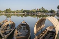 ASIA THAILAND SUKHOTHAI FISHINGBOAT. Fishingboat at the lake at the Historical Park in Sukhothai in the Provinz Sukhothai in Thailand.   Thailand, Sukhothai stock photography