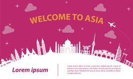 Asia top famous landmark silhouette style on white curve,trip a. Nd tourism,vector illustration vector illustration