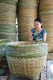 Asia trade village, bamboo basket, Mekong Delta Stock Photos