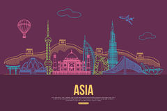 Asia travel background with place for text. Isolated Asian outlined sightseeings and symbols. Skyline detailed Royalty Free Stock Photography