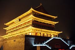 Asia Travel. The Drum Tower is seen at night in Xi` An, China Stock Image