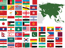 Asia Vector Flags and Maps Royalty Free Stock Photo