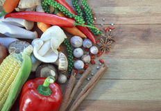 Asia vegetable food and herb spice on wood table stock images