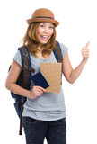 Asia woman backpacker holding passport and thumb up. Isolated on white Royalty Free Stock Image