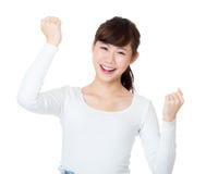 Asia woman cheer up Stock Photos
