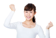 Asia woman cheer up Stock Image