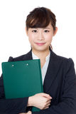 Asia woman with filepad Royalty Free Stock Photography