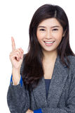 Asia woman finger pointing out Stock Photos