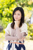 Asia woman with green background stock photos