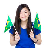 Asia woman hold Brazil flag Royalty Free Stock Images
