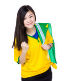 Asia woman hold Brazil flag Stock Photos