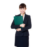 Asia woman holding filepad Stock Photography