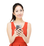 Asia woman holding mobile phone Stock Images