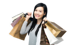 Asia woman with lots of shopping bag Royalty Free Stock Photo