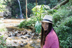 Asia Woman With Mon Tha Than Waterfall in Doi Suthep - Pui National Park Stock Photos