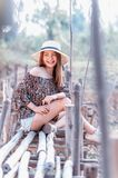 Asia woman in summer fashion sitting on sun Royalty Free Stock Photography