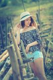 Asia woman in summer fashion standing on sun Royalty Free Stock Photo