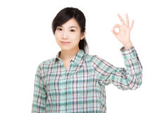 Asia woman with ok hand gesture Stock Images