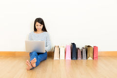 Asia woman online shopping. At home Royalty Free Stock Photo