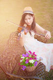 Asia woman playing violin Stock Photography