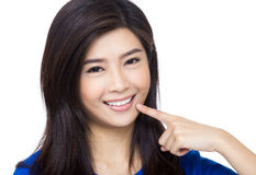Asia woman pointing to her mouth Stock Images