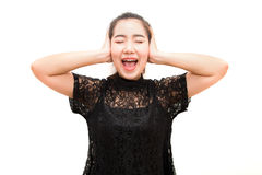 Asia woman screaming and covering ears with her hands Royalty Free Stock Photos