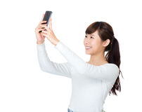 Asia woman selfie Stock Image