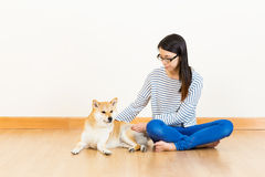 Asia woman and shiba Royalty Free Stock Photography