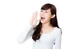 Asia woman shouting Royalty Free Stock Photography