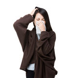 Asia woman sneeze and headache Stock Photo