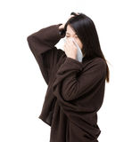 Asia woman sneeze and headache. Isolated on white Royalty Free Stock Photography